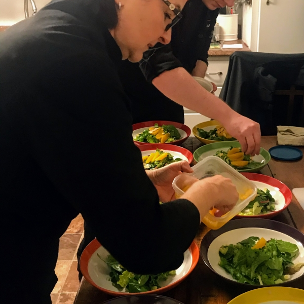 Chefs getting the salads ready