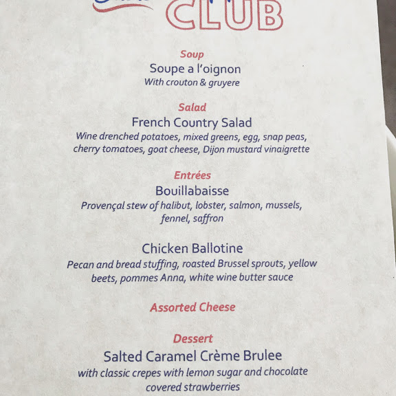 First Supper Club Menu. It's Awesome